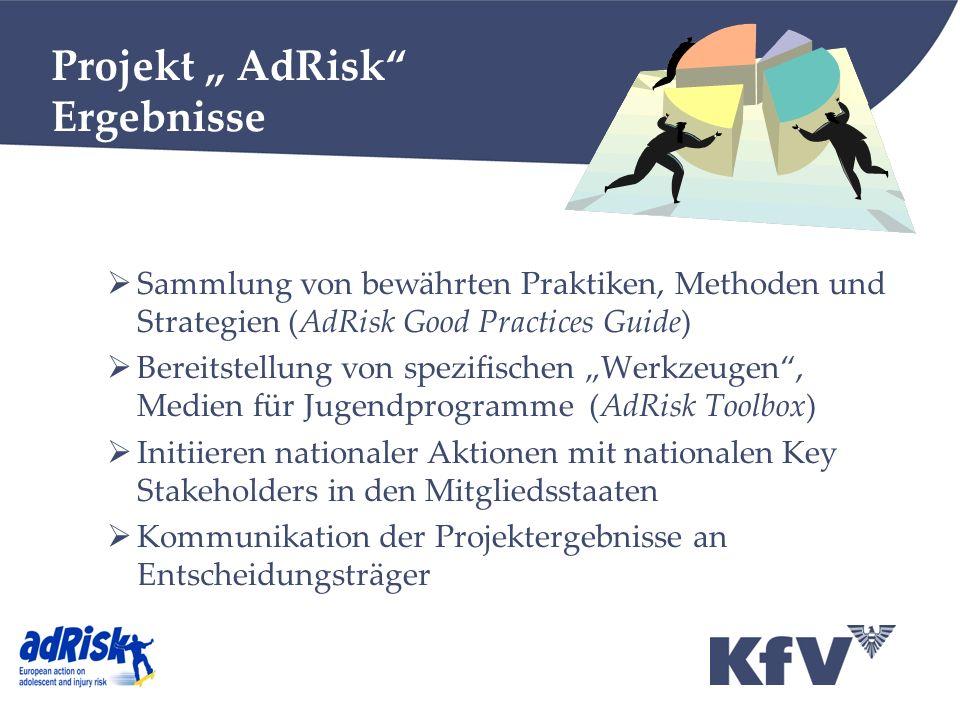 Projekt AdRisk Ergebnisse Sammlung von bewährten Praktiken, Methoden und Strategien (AdRisk Good Practices Guide) Bereitstellung von spezifischen Werk