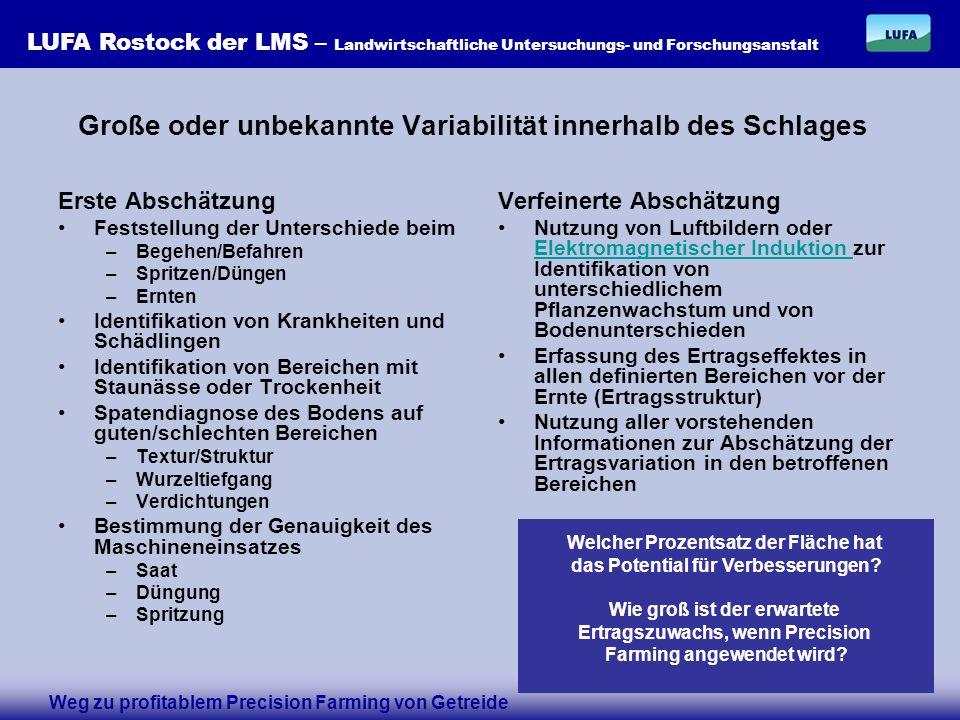LUFA Rostock der LMS – Landwirtschaftliche Untersuchungs- und Forschungsanstalt Die LUFA Rostock empfiehlt eine pragmatische und kostengünstige Herangehensweise an die Zonierung der Schläge: Berücksichtigung früherer Schlagformen- und –größen Berücksichtigung größtmöglicher Flächen ähnlicher Boden- und Ertragsbedingungen (Bodenkarten, Ertragskarten) Fortsetzung der Beprobung in einem festen Raster von durchschnittlich 5 ha Damit der Anschluss an alte Daten nicht verloren geht Damit keine unnötigen Kosten entstehen Geo-Referenzierung der Probenahme mittels GPS Damit keine Unsicherheiten bei der Wertezuweisung entstehen Damit sichere Zeitreihen geschrieben werden können Damit eine sichere Archivierung gegeben ist zurück Weg zu profitablem Precision Farming von Getreide