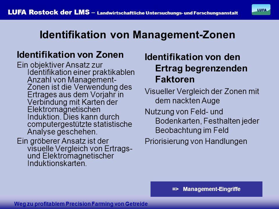 LUFA Rostock der LMS – Landwirtschaftliche Untersuchungs- und Forschungsanstalt Identifikation von Zonen Ein objektiver Ansatz zur Identifikation einer praktikablen Anzahl von Management- Zonen ist die Verwendung des Ertrages aus dem Vorjahr in Verbindung mit Karten der Elektromagnetischen Induktion.