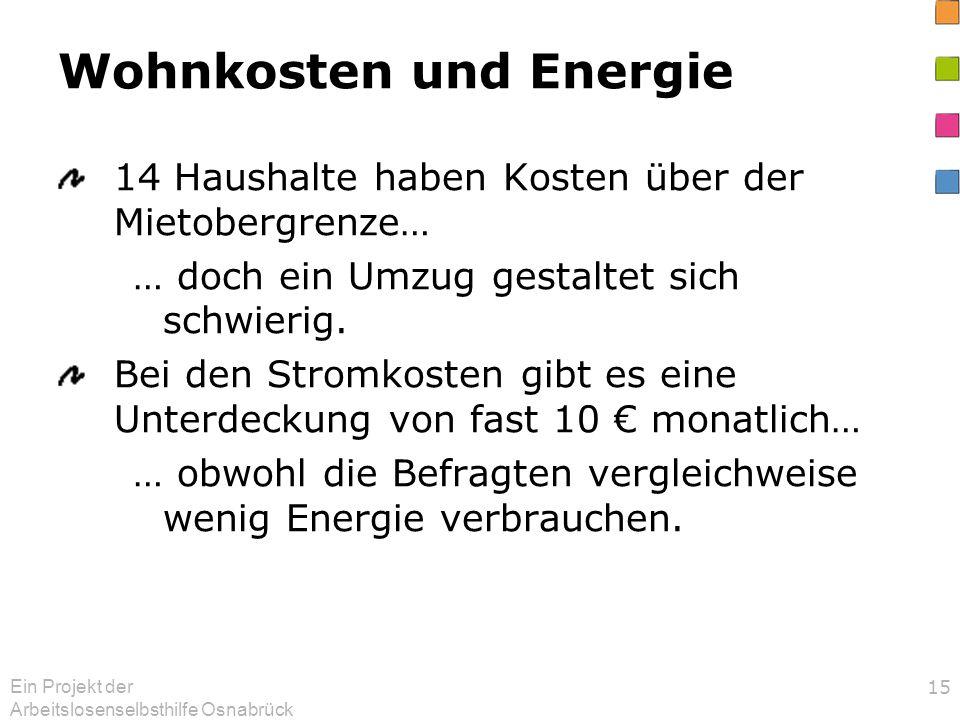 Ein Projekt der Arbeitslosenselbsthilfe Osnabrück 15 Wohnkosten und Energie 14 Haushalte haben Kosten über der Mietobergrenze… … doch ein Umzug gestaltet sich schwierig.