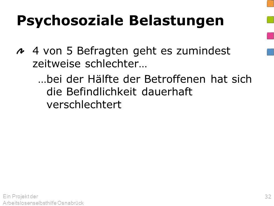 Ein Projekt der Arbeitslosenselbsthilfe Osnabrück 32 Psychosoziale Belastungen 4 von 5 Befragten geht es zumindest zeitweise schlechter… …bei der Hälf