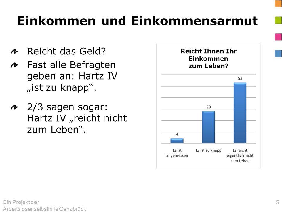 Ein Projekt der Arbeitslosenselbsthilfe Osnabrück 5 Einkommen und Einkommensarmut Reicht das Geld? Fast alle Befragten geben an: Hartz IV ist zu knapp