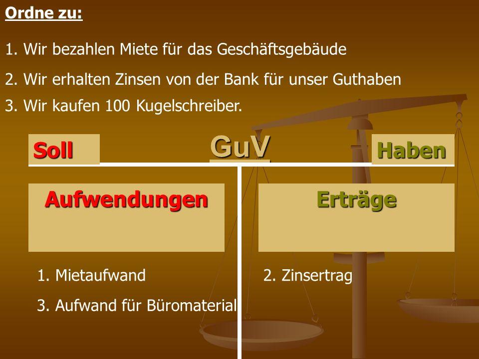 GuV Erträge HabenSoll Aufwendungen Ordne zu: 1. Wir bezahlen Miete für das Geschäftsgebäude 2. Wir erhalten Zinsen von der Bank für unser Guthaben 3.