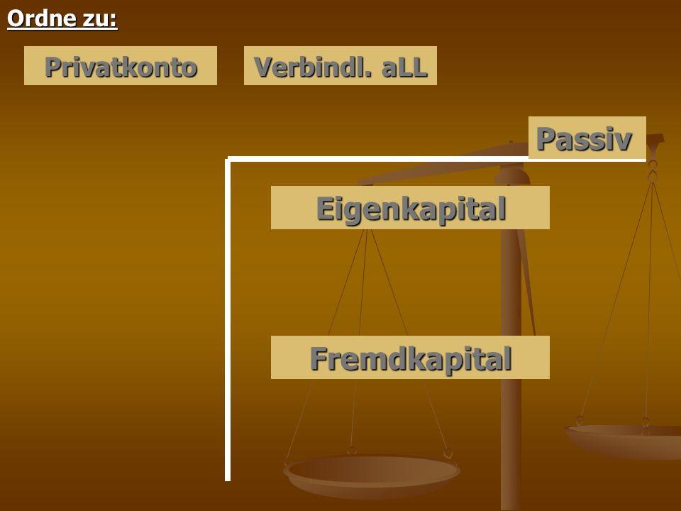 Eigenkapital Passiv Fremdkapital Ordne zu: Privatkonto Verbindl. aLL