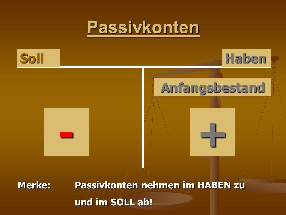 Passivkonten HabenSoll Anfangsbestand + Merke:Passivkonten nehmen im HABEN zu und im SOLL ab! -
