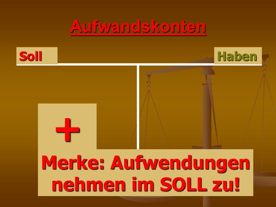 Ertragskonten HabenSoll + Merke: Erträge nehmen im HABEN zu!