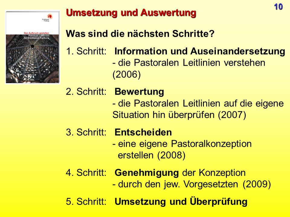 Was sind die nächsten Schritte? 1. Schritt: Information und Auseinandersetzung - die Pastoralen Leitlinien verstehen (2006) 2. Schritt: Bewertung - di
