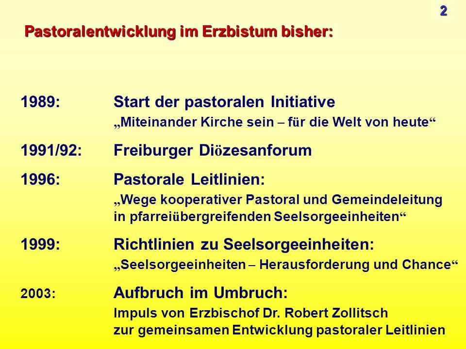 Pastoralentwicklung im Erzbistum bisher: 1989:Start der pastoralen Initiative Miteinander Kirche sein – f ü r die Welt von heute 1991/92:Freiburger Di