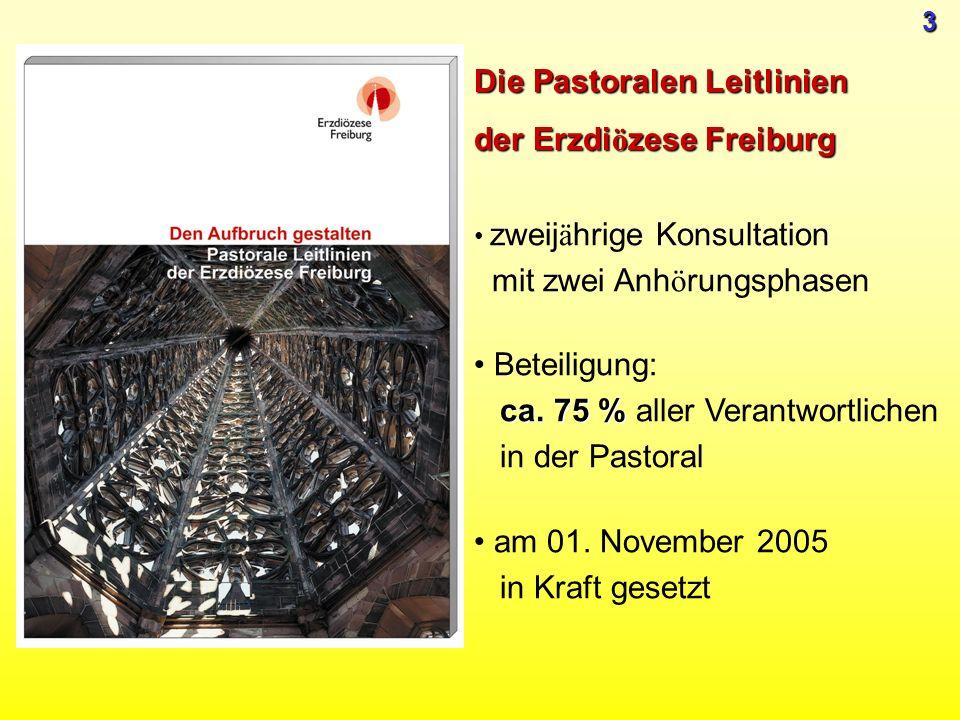 zweij ä hrige Konsultation mit zwei Anh ö rungsphasen ca. 75 % Beteiligung: ca. 75 % aller Verantwortlichen in der Pastoral am 01. November 2005 in Kr