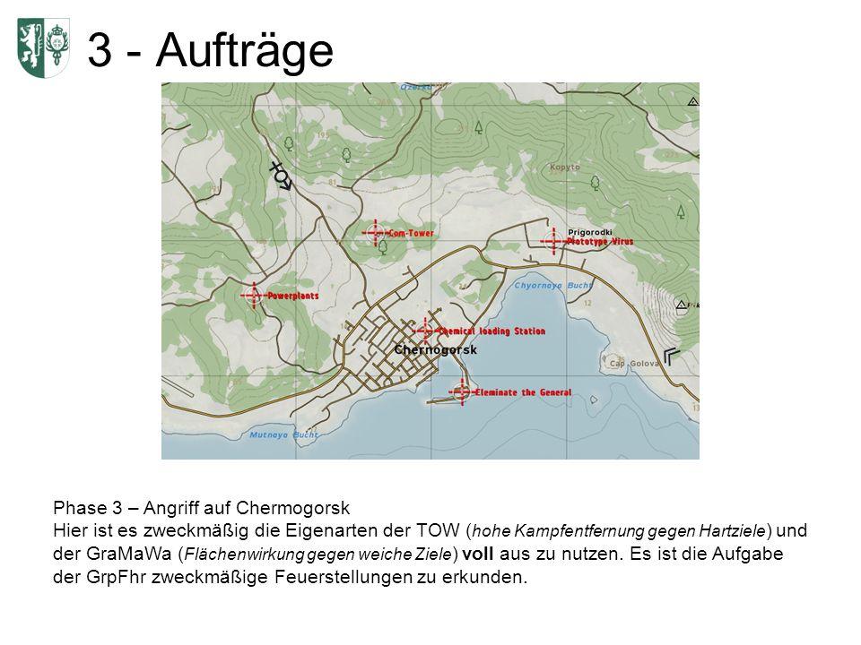 3 - Aufträge Phase 3 – Angriff auf Chermogorsk Hier ist es zweckmäßig die Eigenarten der TOW ( hohe Kampfentfernung gegen Hartziele ) und der GraMaWa ( Flächenwirkung gegen weiche Ziele ) voll aus zu nutzen.