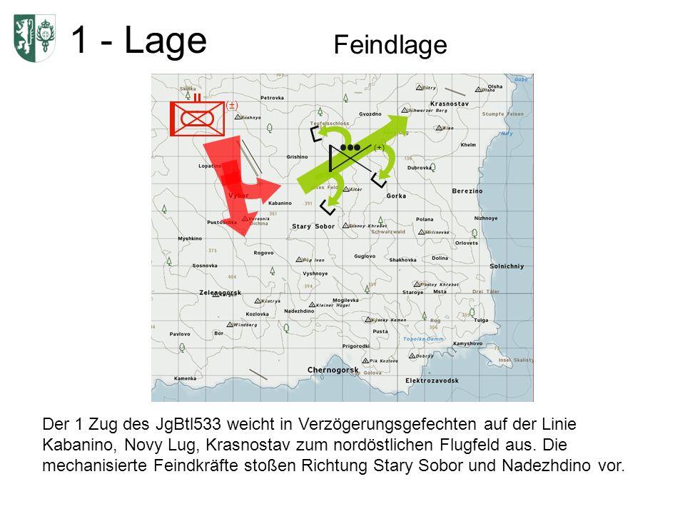 1 - Lage Feindlage (±) (+) Der 1 Zug des JgBtl533 weicht in Verzögerungsgefechten auf der Linie Kabanino, Novy Lug, Krasnostav zum nordöstlichen Flugfeld aus.