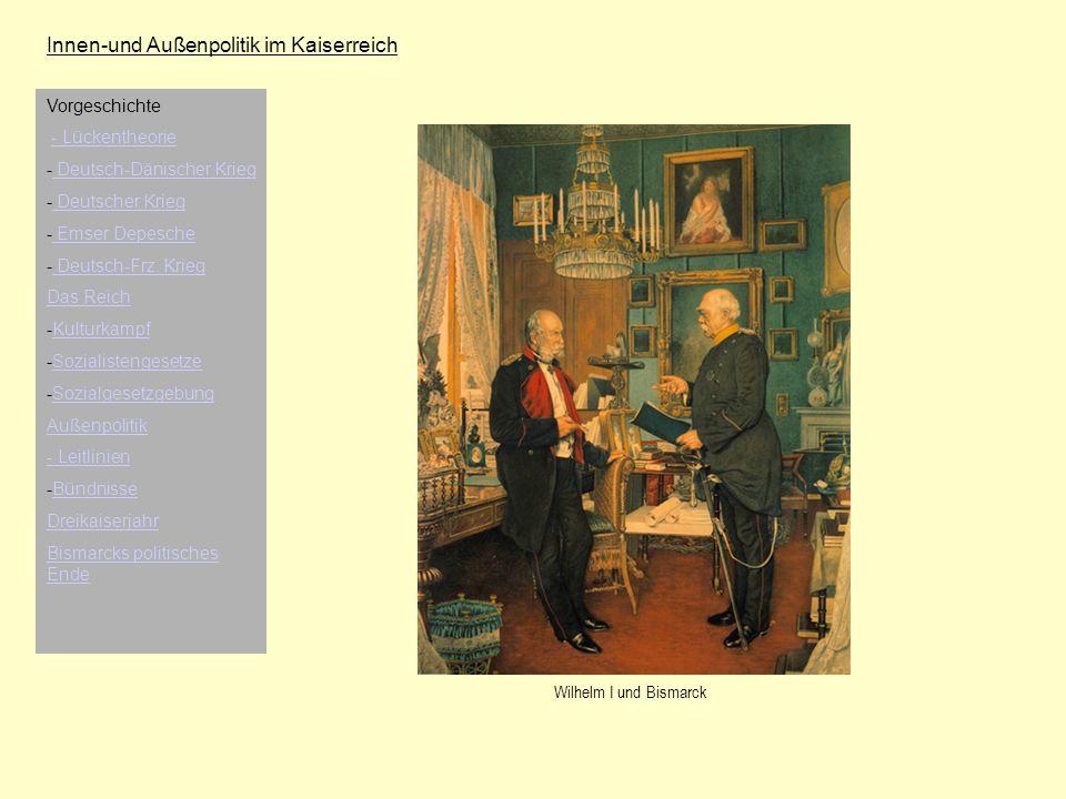 Innen-und Außenpolitik im Kaiserreich Vorgeschichte - Lückentheorie - Deutsch-Dänischer Krieg Deutsch-Dänischer Krieg - Deutscher Krieg Deutscher Krie