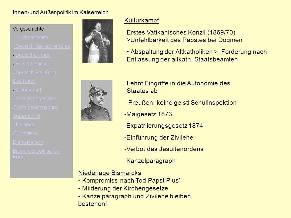 Innen-und Außenpolitik im Kaiserreich Kulturkampf Erstes Vatikanisches Konzil (1869/70) >Unfehlbarkeit des Papstes bei Dogmen Abspaltung der Altkathol