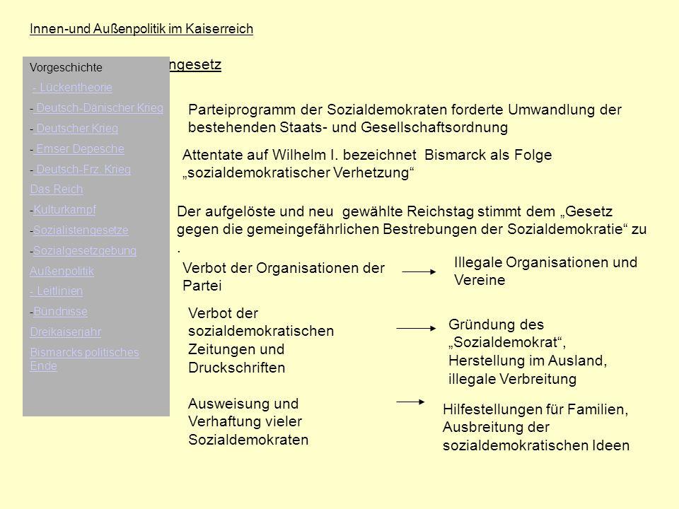 Innen-und Außenpolitik im Kaiserreich Sozialistengesetz Parteiprogramm der Sozialdemokraten forderte Umwandlung der bestehenden Staats- und Gesellscha