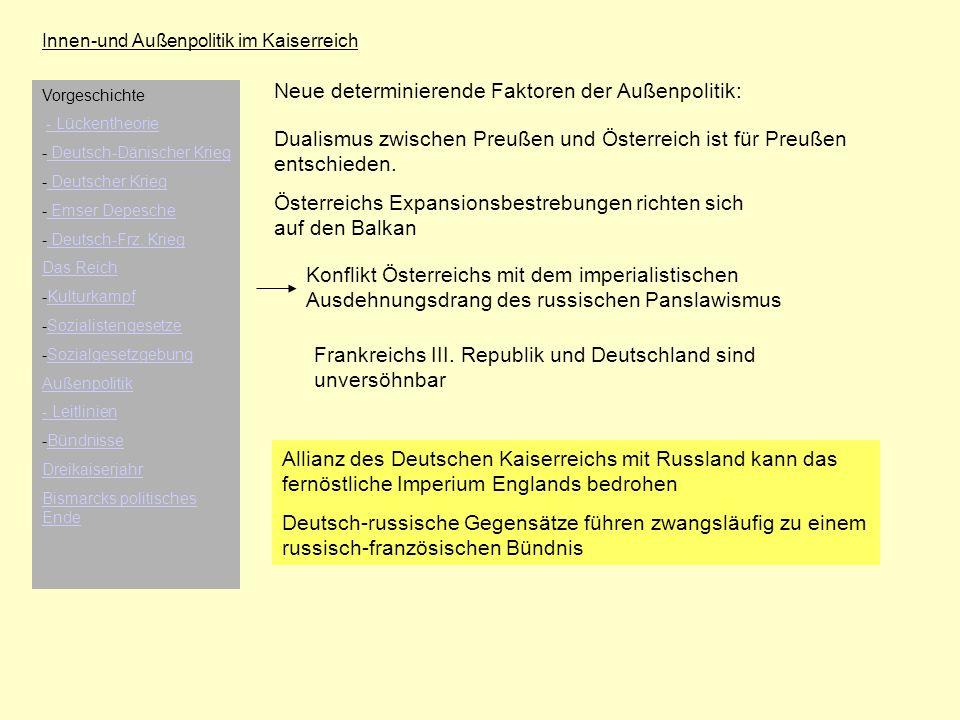 Innen-und Außenpolitik im Kaiserreich Neue determinierende Faktoren der Außenpolitik: Dualismus zwischen Preußen und Österreich ist für Preußen entsch