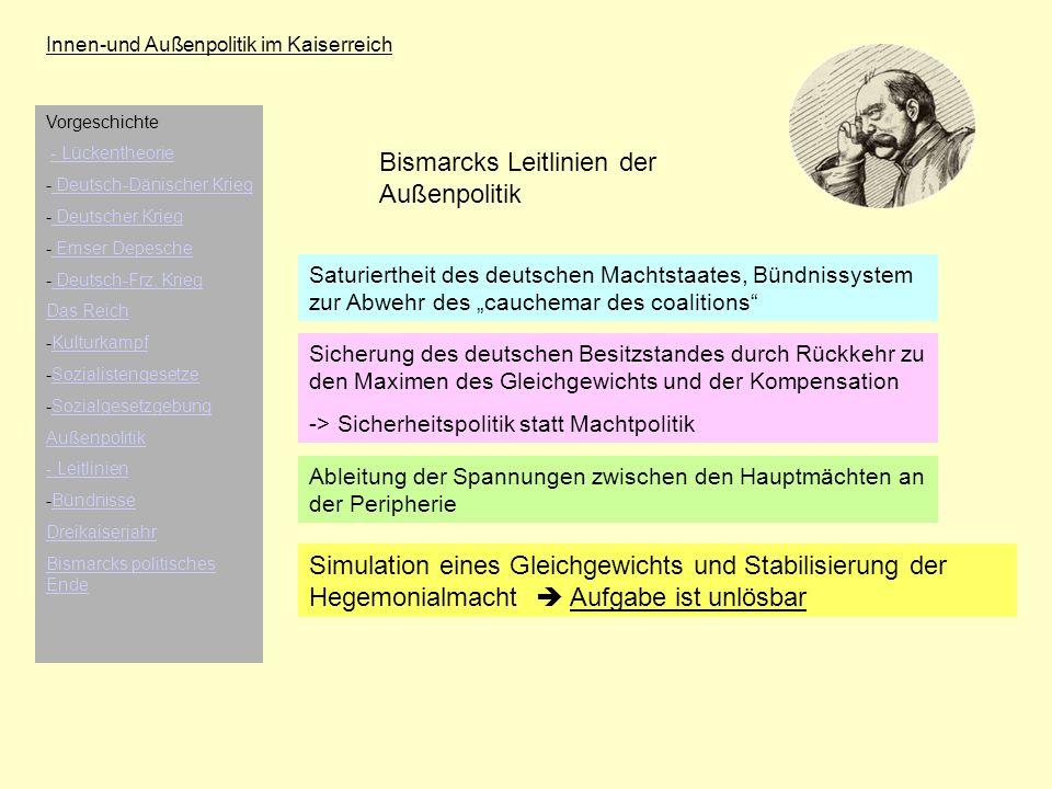 Innen-und Außenpolitik im Kaiserreich Bismarcks Leitlinien der Außenpolitik Saturiertheit des deutschen Machtstaates, Bündnissystem zur Abwehr des cau