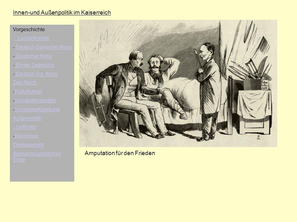 Innen-und Außenpolitik im Kaiserreich Amputation für den Frieden Vorgeschichte - Lückentheorie - Deutsch-Dänischer Krieg Deutsch-Dänischer Krieg - Deu