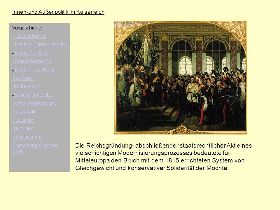 Innen-und Außenpolitik im Kaiserreich Die Reichsgründung- abschließender staatsrechtlicher Akt eines vielschichtigen Modernisierungsprozesses bedeutet