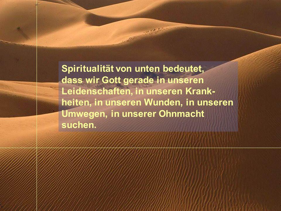 Spiritualität von unten bedeutet, dass wir Gott gerade in unseren Leidenschaften, in unseren Krank- heiten, in unseren Wunden, in unseren Umwegen, in unserer Ohnmacht suchen.