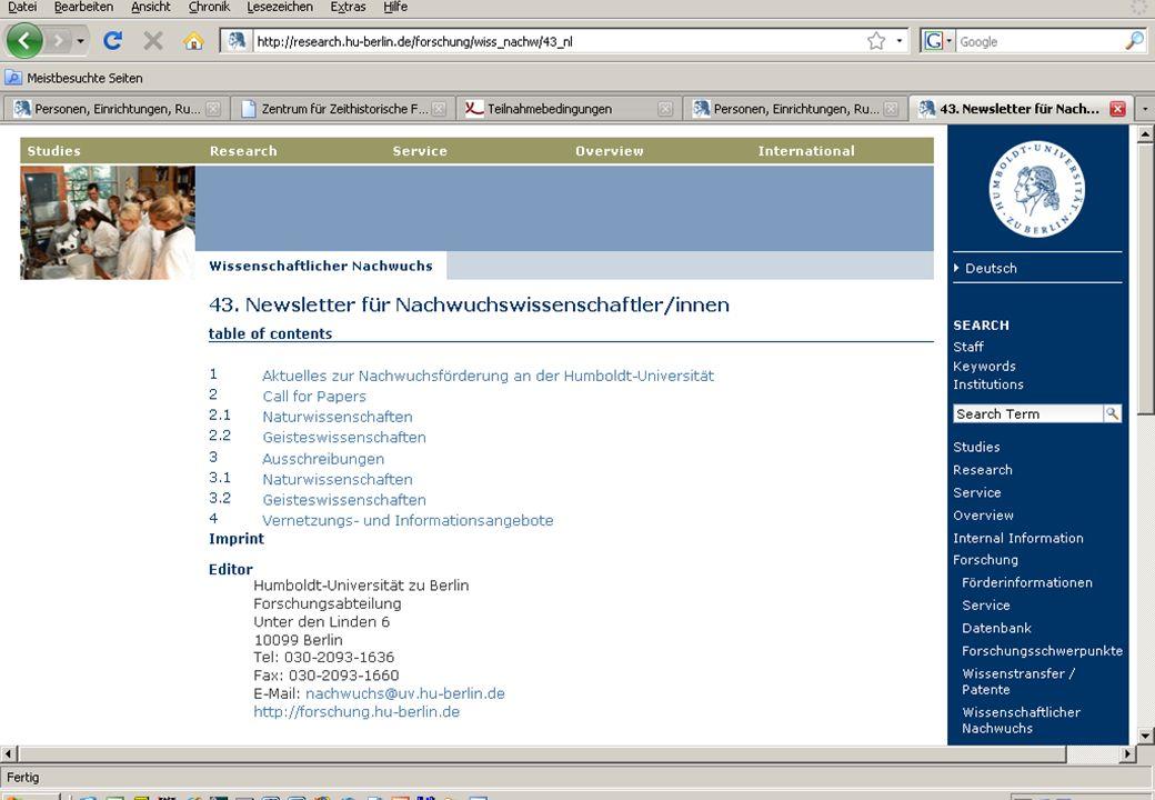 Humboldt-Universität zu Berlin Forschungsabteilung Dr. Uta Hoffmann