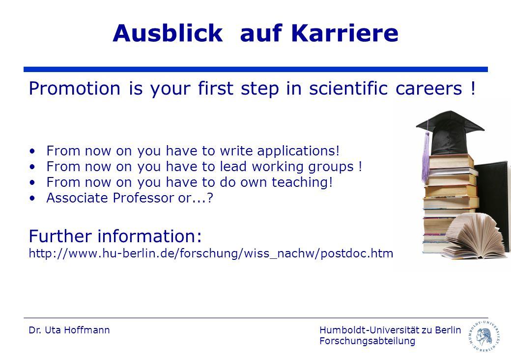 Humboldt-Universität zu Berlin Forschungsabteilung Dr.