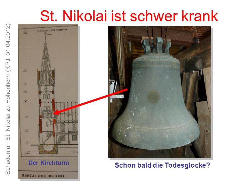 Schäden an St. Nikolai zu Hohenhorn (KPJ, 01.04.2012) Unsere Kirche ist schön, das Kirchspiel alt und traditionsreich St. Nikolai ist schwer krank Der