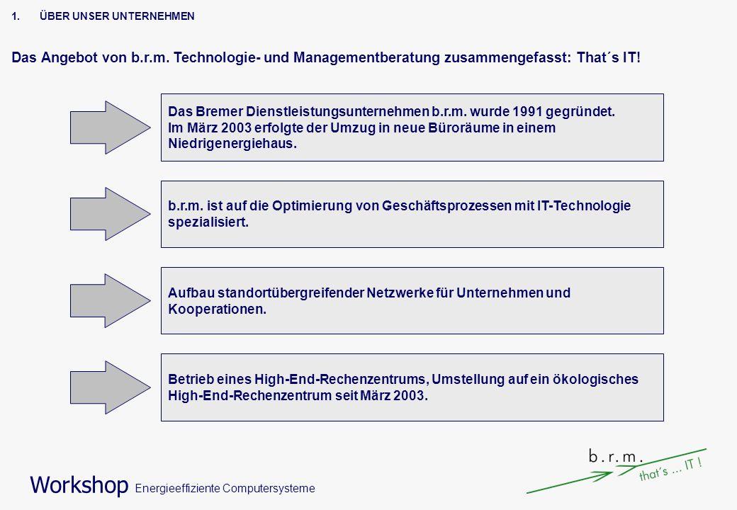 Workshop Energieeffiziente Computersysteme 1.ÜBER UNSER UNTERNEHMEN Das Angebot von b.r.m. Technologie- und Managementberatung zusammengefasst: That´s