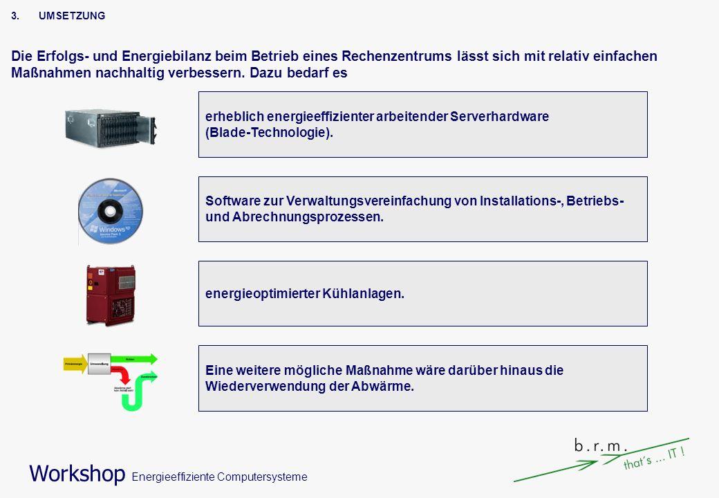Workshop Energieeffiziente Computersysteme 3.UMSETZUNG Die Erfolgs- und Energiebilanz beim Betrieb eines Rechenzentrums lässt sich mit relativ einfach