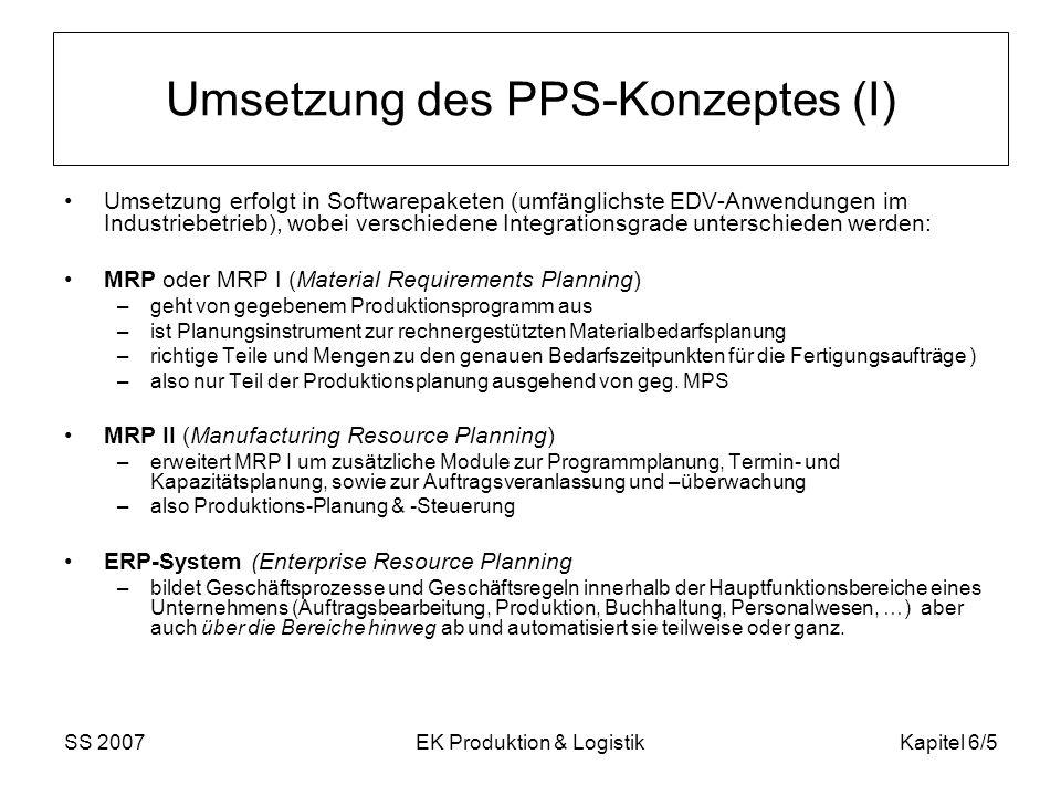 SS 2007EK Produktion & LogistikKapitel 6/5 Umsetzung des PPS-Konzeptes (I) Umsetzung erfolgt in Softwarepaketen (umfänglichste EDV-Anwendungen im Industriebetrieb), wobei verschiedene Integrationsgrade unterschieden werden: MRP oder MRP I (Material Requirements Planning) –geht von gegebenem Produktionsprogramm aus –ist Planungsinstrument zur rechnergestützten Materialbedarfsplanung –richtige Teile und Mengen zu den genauen Bedarfszeitpunkten für die Fertigungsaufträge ) –also nur Teil der Produktionsplanung ausgehend von geg.