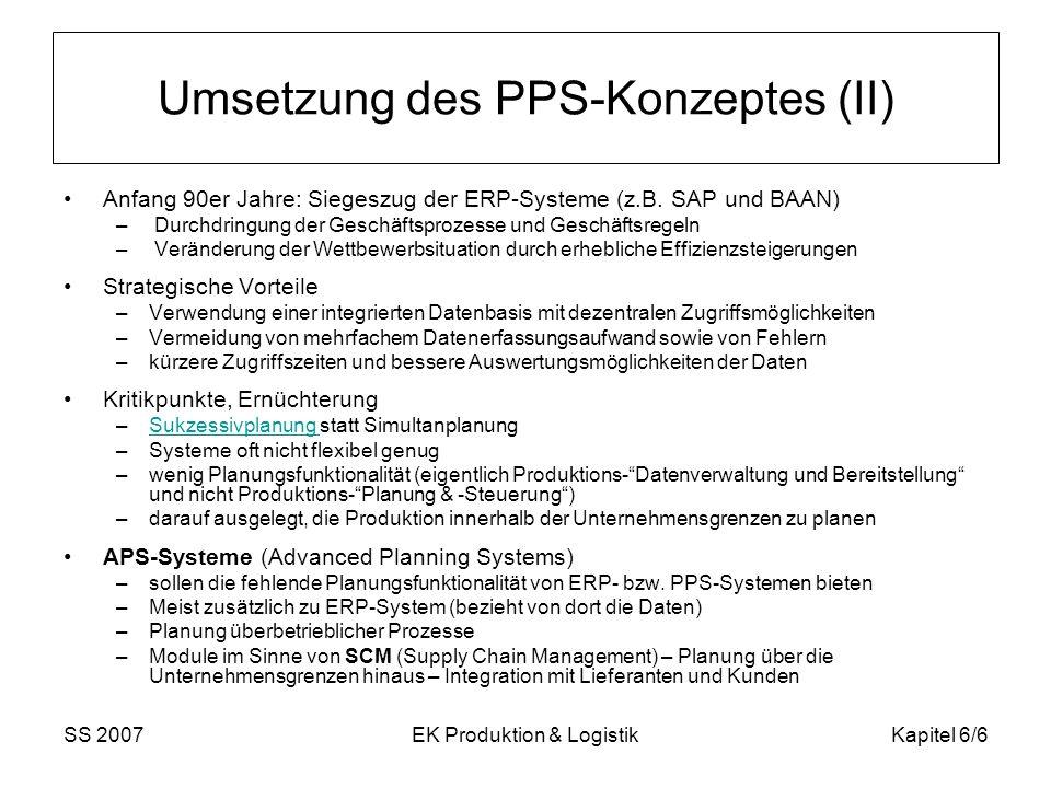 SS 2007EK Produktion & LogistikKapitel 6/6 Umsetzung des PPS-Konzeptes (II) Anfang 90er Jahre: Siegeszug der ERP-Systeme (z.B. SAP und BAAN) – Durchdr