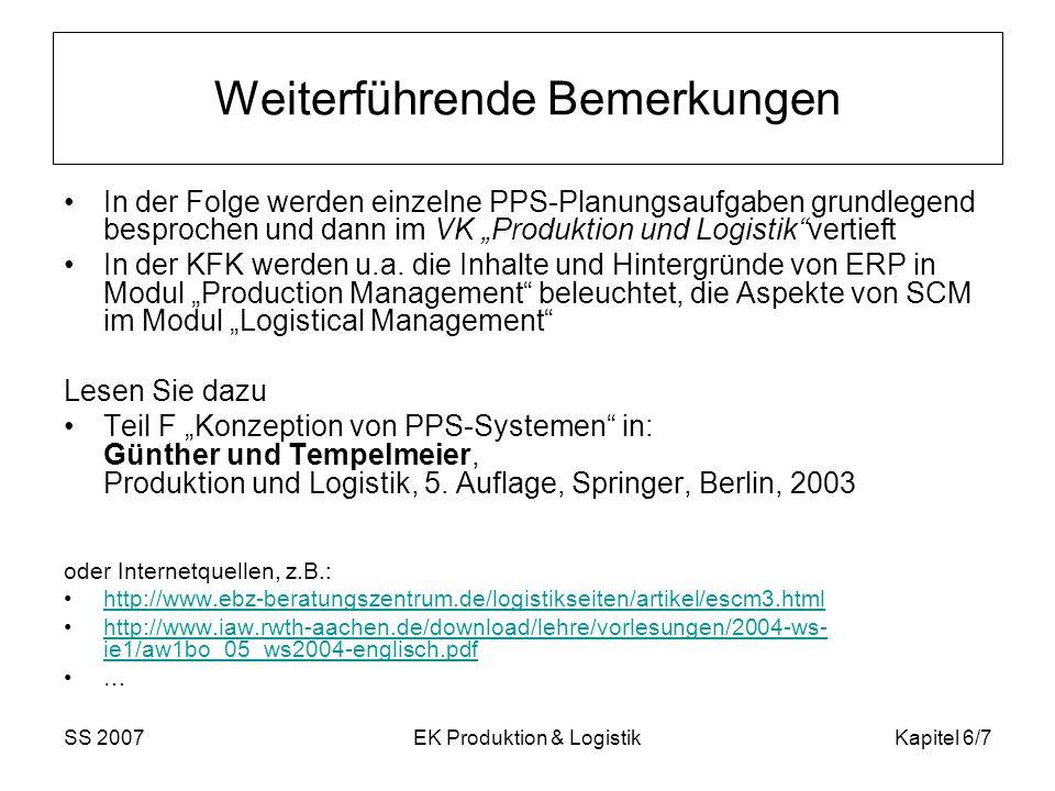 SS 2007EK Produktion & LogistikKapitel 6/7 Weiterführende Bemerkungen In der Folge werden einzelne PPS-Planungsaufgaben grundlegend besprochen und dann im VK Produktion und Logistikvertieft In der KFK werden u.a.