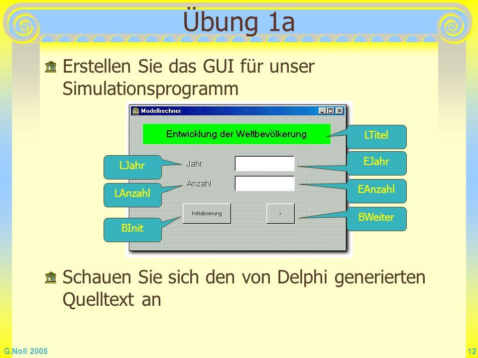 G.Noll 2005 12 Übung 1a Erstellen Sie das GUI für unser Simulationsprogramm BWeiter EAnzahl LTitel EJahr BInit LJahr LAnzahl Schauen Sie sich den von