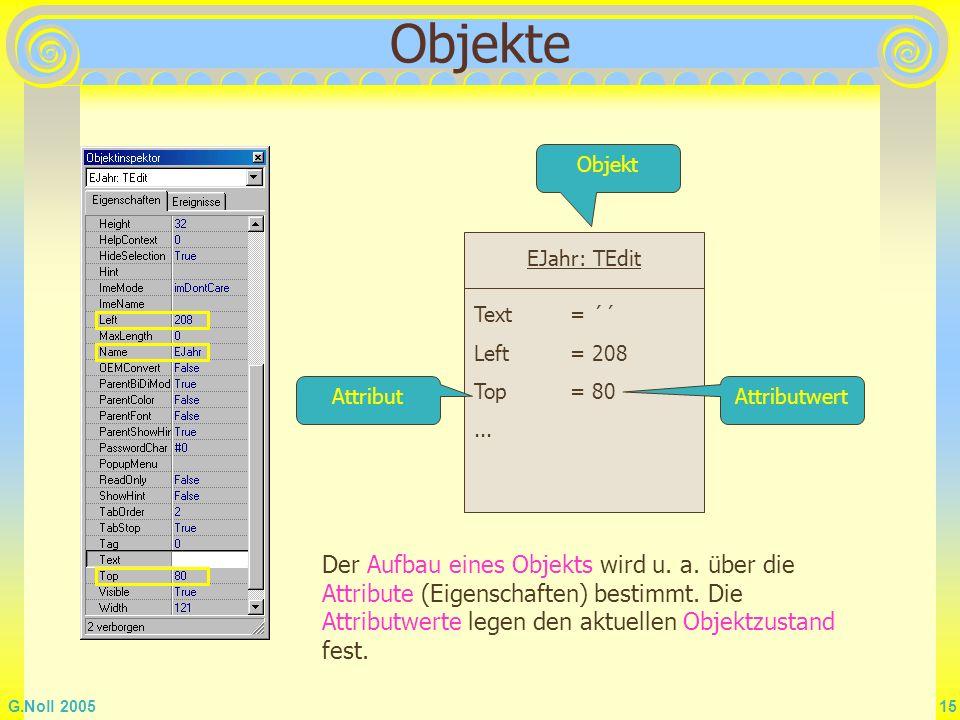 G.Noll 2005 15 Objekte EJahr: TEdit Text = ´´ Left = 208 Top= 80... AttributAttributwert Der Aufbau eines Objekts wird u. a. über die Attribute (Eigen