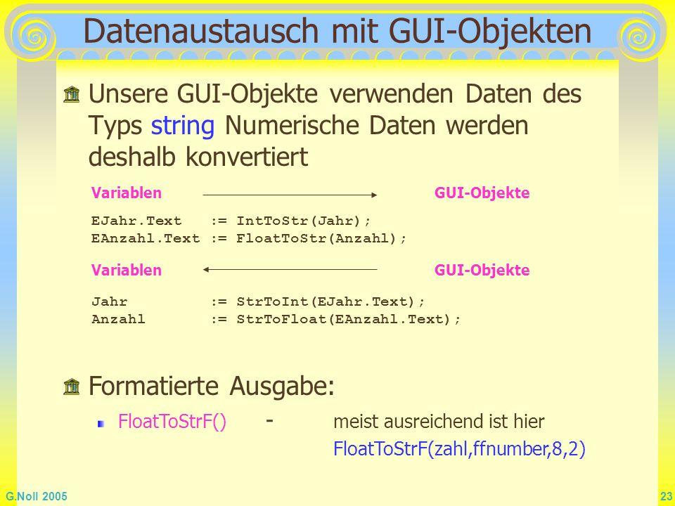 G.Noll 2005 23 Datenaustausch mit GUI-Objekten Unsere GUI-Objekte verwenden Daten des Typs string Numerische Daten werden deshalb konvertiert Jahr :=