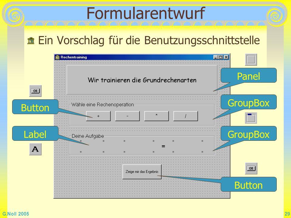 G.Noll 2005 29 Formularentwurf Ein Vorschlag für die Benutzungsschnittstelle Label Panel GroupBox Button