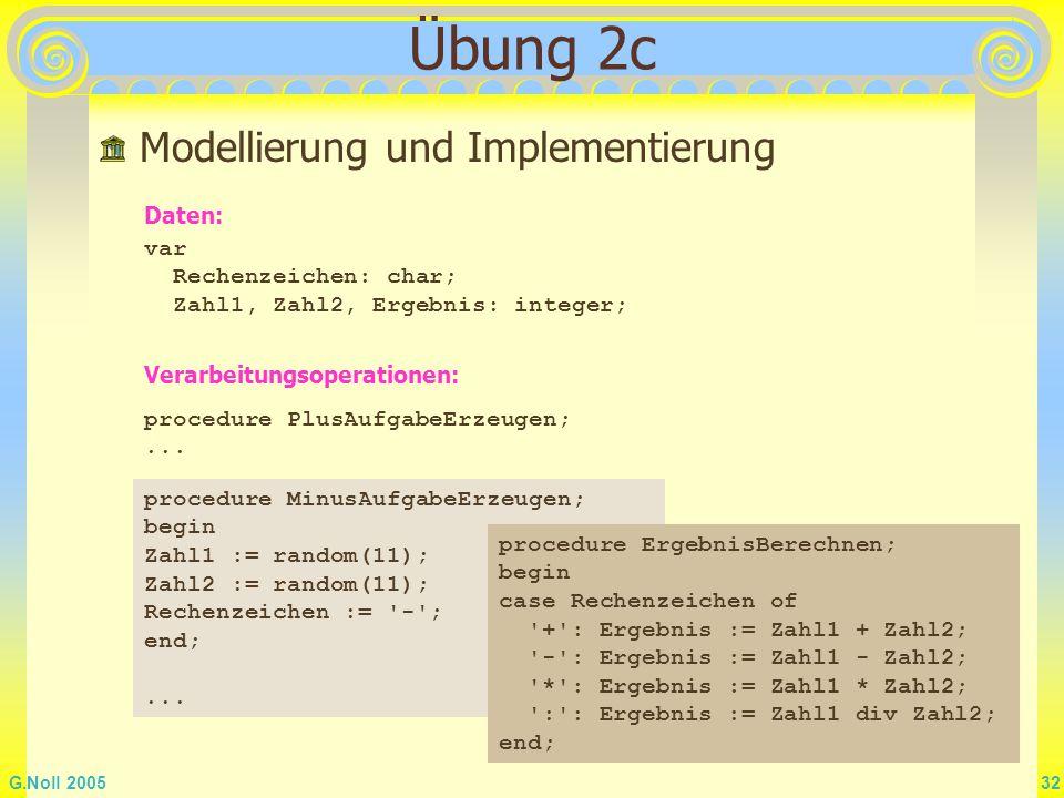 G.Noll 2005 32 Übung 2c Modellierung und Implementierung var Rechenzeichen: char; Zahl1, Zahl2, Ergebnis: integer; Verarbeitungsoperationen: procedure