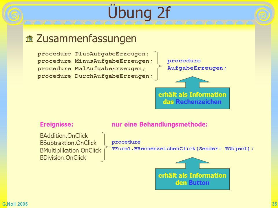 G.Noll 2005 35 Übung 2f Zusammenfassungen procedure PlusAufgabeErzeugen; procedure MinusAufgabeErzeugen; procedure MalAufgabeErzeugen; procedure Durch