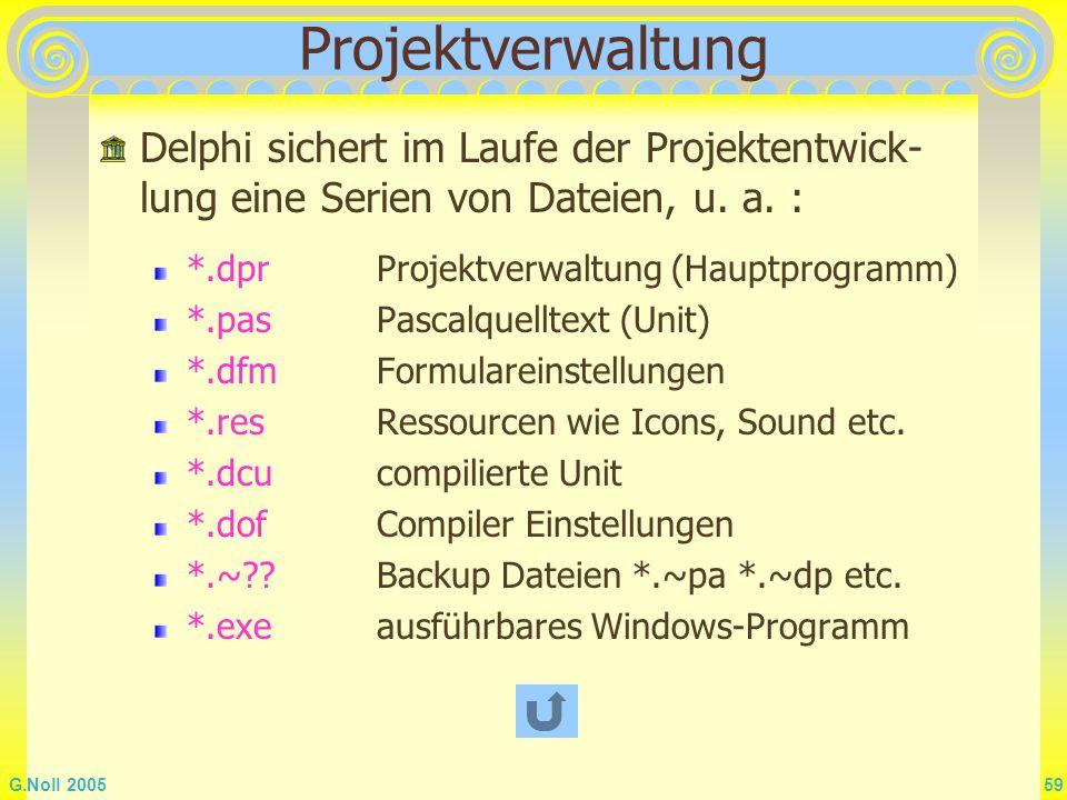 G.Noll 2005 59 Projektverwaltung *.dprProjektverwaltung (Hauptprogramm) *.pasPascalquelltext (Unit) *.dfmFormulareinstellungen *.resRessourcen wie Ico