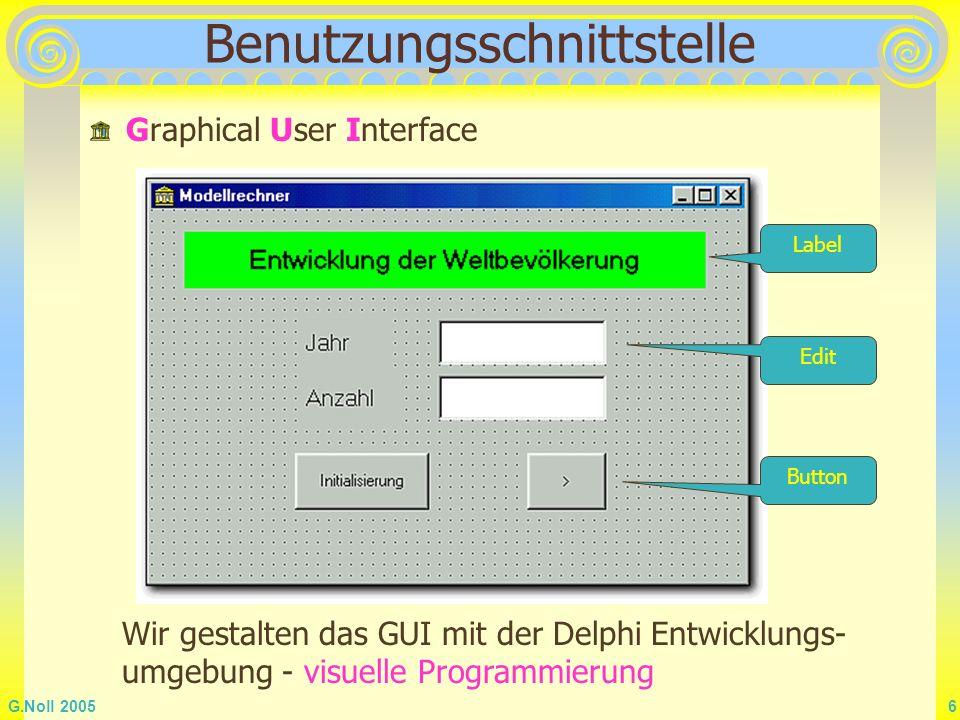 G.Noll 2005 6 Benutzungsschnittstelle Graphical User Interface Button Edit Label Wir gestalten das GUI mit der Delphi Entwicklungs- umgebung - visuell