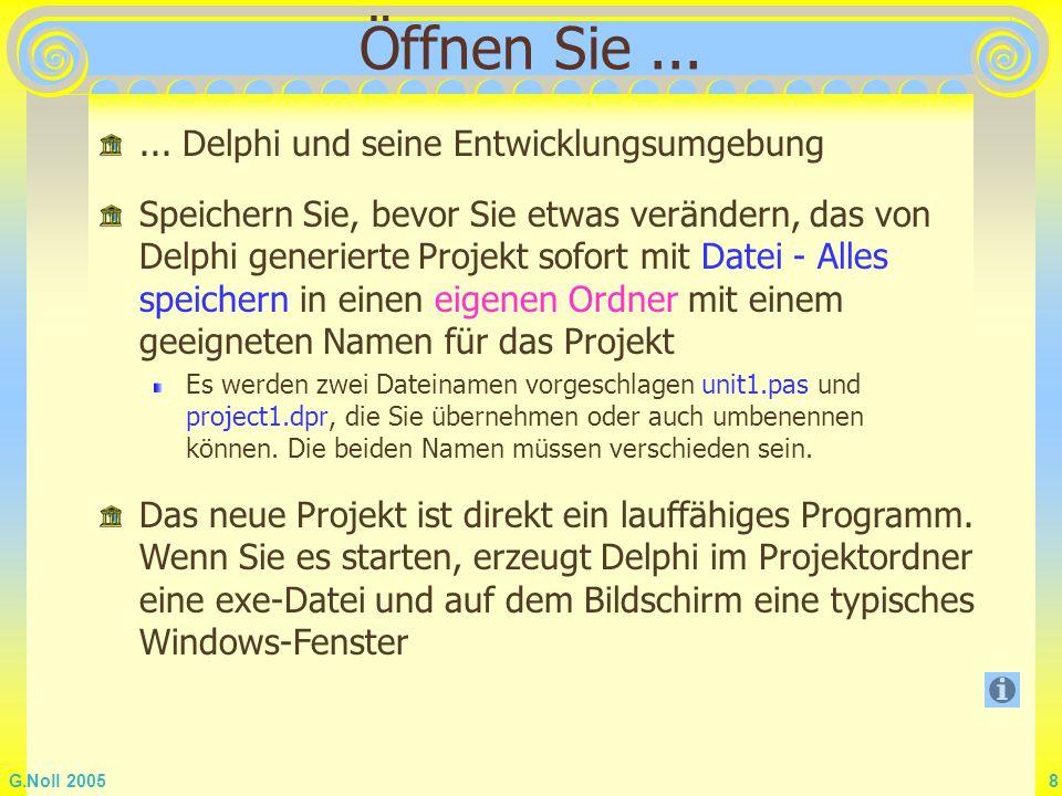 G.Noll 2005 8 Öffnen Sie...... Delphi und seine Entwicklungsumgebung Speichern Sie, bevor Sie etwas verändern, das von Delphi generierte Projekt sofor