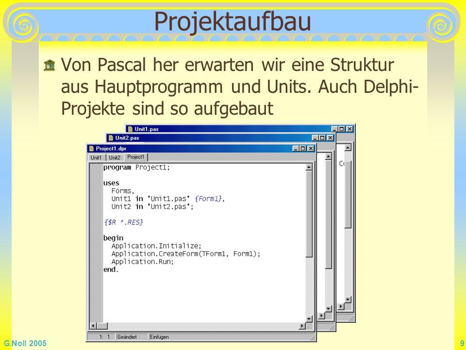 G.Noll 2005 9 Projektaufbau Von Pascal her erwarten wir eine Struktur aus Hauptprogramm und Units. Auch Delphi- Projekte sind so aufgebaut