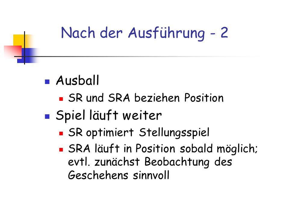 Nach der Ausführung - 2 Ausball SR und SRA beziehen Position Spiel läuft weiter SR optimiert Stellungsspiel SRA läuft in Position sobald möglich; evtl