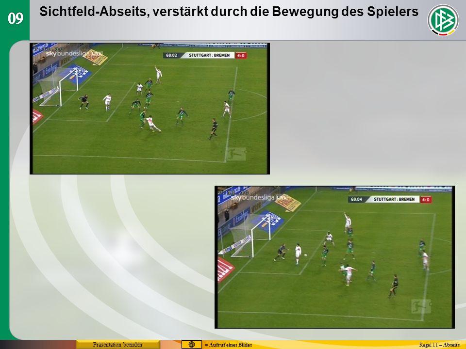 Abseits - Eingreifen ins Spiel Regel 11 – Abseits Ein Angreifer befindet sich in einer Abseitsstellung (A), ohne den Gegner zu beeinflussen, und berührt den Ball.