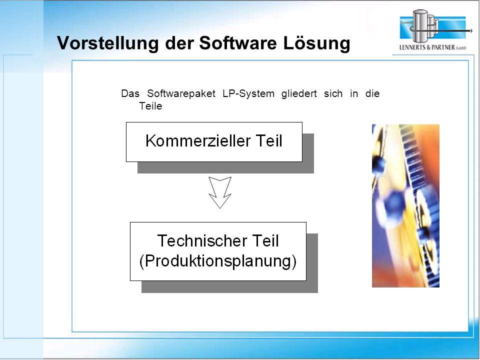 Das Softwarepaket LP-System gliedert sich in die Teile Vorstellung der Software Lösung