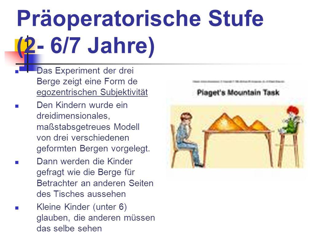 Präoperatorische Stufe (2- 6/7 Jahre) Das Experiment der drei Berge zeigt eine Form de egozentrischen Subjektivität Den Kindern wurde ein dreidimensio