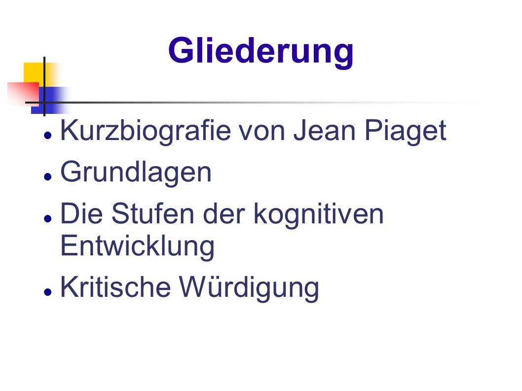 Gliederung Kurzbiografie von Jean Piaget Grundlagen Die Stufen der kognitiven Entwicklung Kritische Würdigung