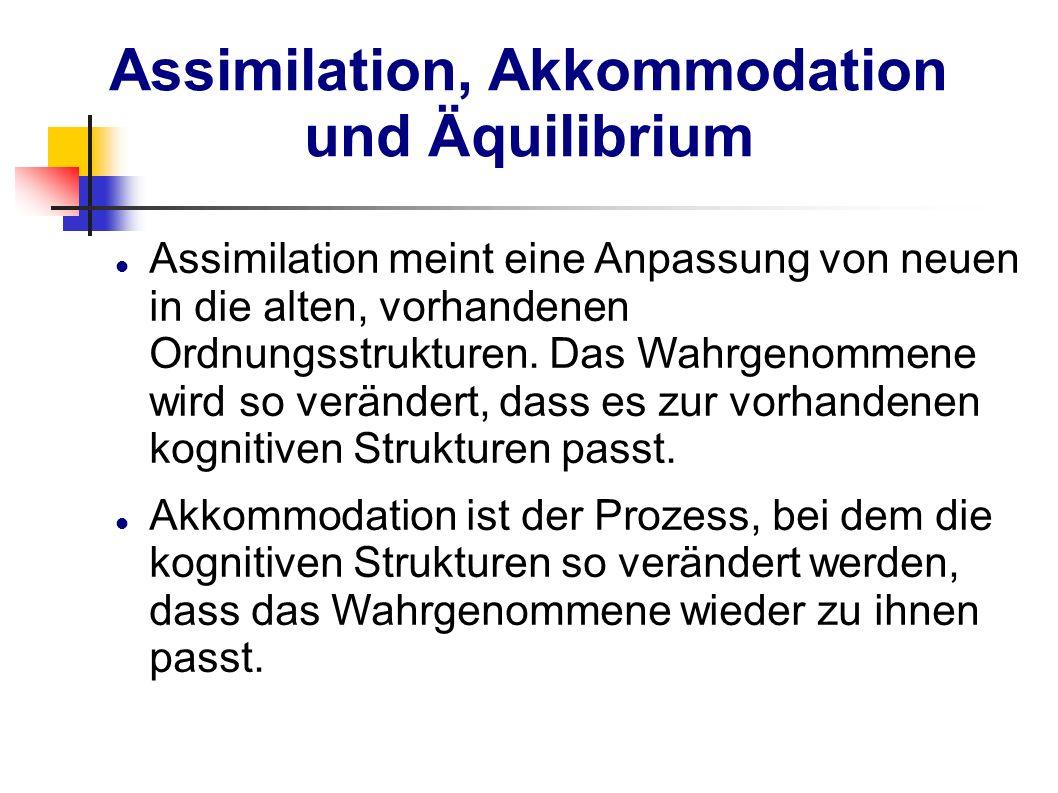 Assimilation, Akkommodation und Äquilibrium Assimilation meint eine Anpassung von neuen in die alten, vorhandenen Ordnungsstrukturen. Das Wahrgenommen