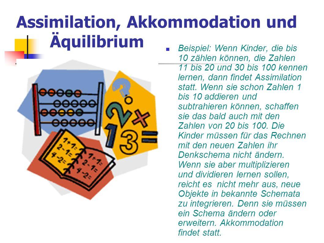 Assimilation, Akkommodation und Äquilibrium Beispiel: Wenn Kinder, die bis 10 zählen können, die Zahlen 11 bis 20 und 30 bis 100 kennen lernen, dann f