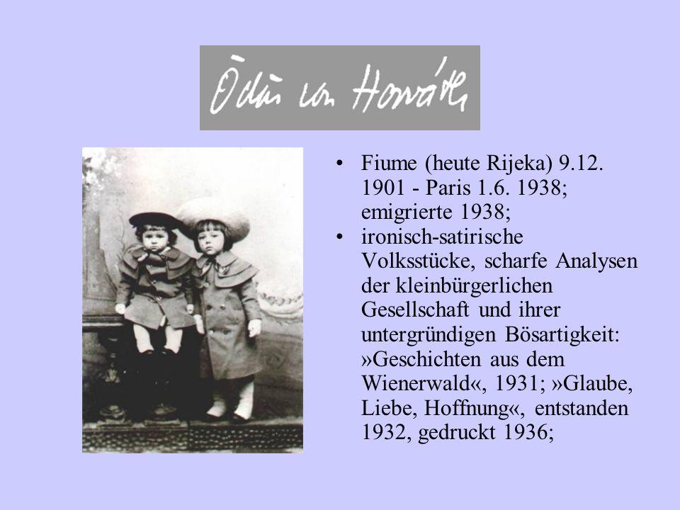 Fiume (heute Rijeka) 9.12. 1901 - Paris 1.6. 1938; emigrierte 1938; ironisch-satirische Volksstücke, scharfe Analysen der kleinbürgerlichen Gesellscha