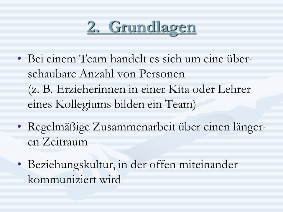2. Grundlagen Bei einem Team handelt es sich um eine über- schaubare Anzahl von PersonenBei einem Team handelt es sich um eine über- schaubare Anzahl